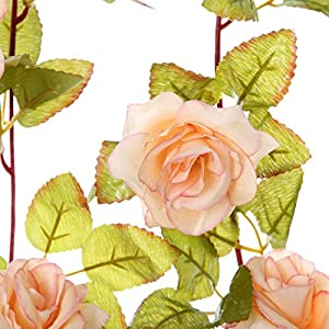 Felice Arts 2 Pack 11 Heads 7.2 Ft/pc Artificial Silk Fake Flowers Autumn Rose Vine Realistic Hanging Silk Rose Plants Wedding Home Party Arch Decor 5