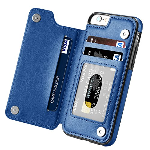 Price comparison product image iPhone 6s Case,  iPhone 6 Case,  Hoofur Slim Fit Premium Leather iPhone 6 Wallet Casae Card Slots Shockproof Folio Flip Protective Defender Shell for Apple iPhone 6 / 6s (4.7 Inch) - Blue