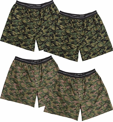 Hanes Red Label Men's 4-Pack Exposed Waistband Woven Camo Boxers, Camo, ()