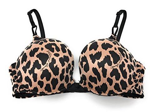Victoria's Secret Bombshell Add 2 Cup Push-Up Bra Brown Logo Leopard - Leopard Logo