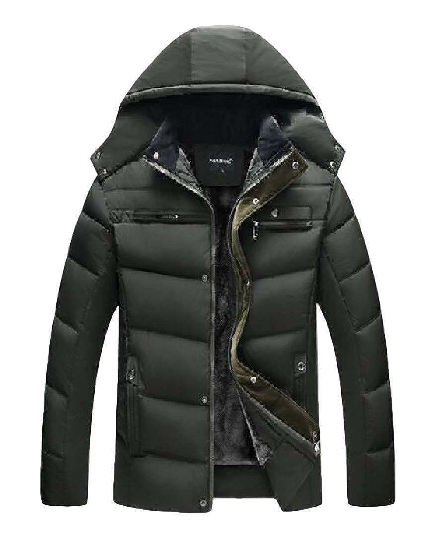 Joe Wenko Men Quilted Outwear Classic Slim Fit Thick Jacket Fleece Parkas Coat