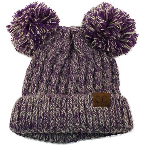 CC Winter Cute 2Pom Pom Ears 2tone Soft Warm Thick Chunky Knit Beanie Hat ()