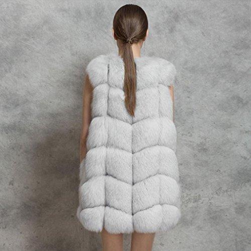 piel Blanco mujer chaleco pequeño sintética Grey de mujer Chaleco largo de Chaleco de 8xvZqX80