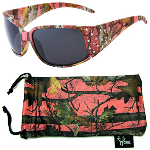Hornz Pink Camouflage Polarized Sunglasses 6 Pack Country Girl Style Rhinestone Accents & Free Matching Microfiber Pouch - Pink Camo Frame - Smoke Lens ()
