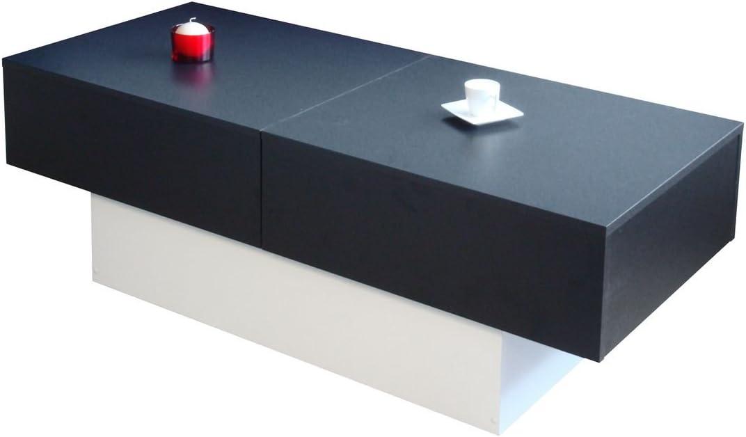 Goedkoop Aanbevelen Berlioz Creations Alicia salontafel, Agglo spaanplaat ALICIA 123 x 51,5 x 43 cm zwart/wit zwart/wit gWaGHHg