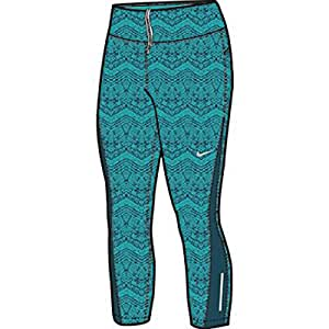 New Nike Women's Printed Relay Crop Tights Dusty Cactus/Space Blue/Reflective Silver X-Large