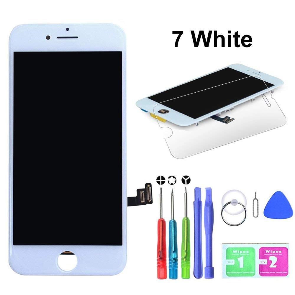 LYESS White Screen Replacement Compatible For iPhone 7 4.7 Inch with 3D Touch - LCD Display Digitizer Frame Assembly Full Repair Kit, with Repair Tools and Flowchart
