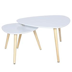 Happy Home - Set di 2 tavolini da caffè in Legno, Colore: Bianco
