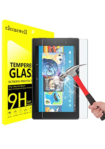 Fire HD 8 Kids Edition Screen Protector,ELECNEWELL for 2017 All-New Fire HD 8 / Fire HD 8 Kids Edition Tempered Glass Screen Protector [9H Hardness 2.5D Round Edge] [Lifetime Replacement]