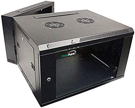 9U Wall Mount Double Section Hinged Swing Out Server Network Rack Cabinet