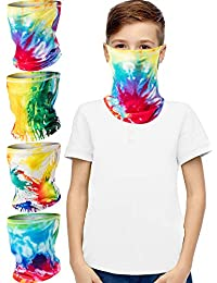 4 Pieces Kids Face Bandana Ear Loops Neck Gaiter Face Cover Scarf (11-15 Years)