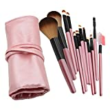 Makeup Brush Set,12 pieces Makeup Brush Set tool Professional Face Powder Blush Eye Shadow Eyeliner Foundation Blush Lip Makeup Brushes Powder Liquid Cream Cosmetics Brush Tool With Brush Bag (Pink)