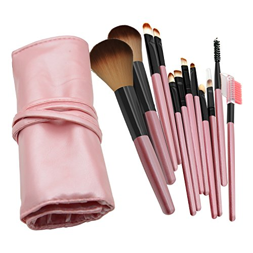 12 Set of Pink Make-up Brushes