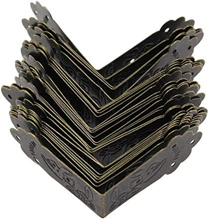 "Zorfeter 30 Pcs Antique Corner Protector L Shaped Vintage Bronze Decorative Box Edge Corner Guards with Screws, 1.7"" x 1.7"""