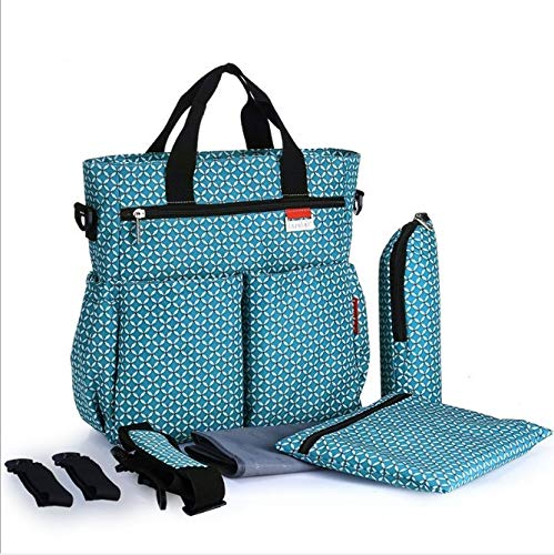 Blue Car BAO CORE 4PCS Set High quality Waterproof Mummy Nursing Baby Diaper Nappy Changing Messenger Bag 600D Oxford Cross-body Handbag With Handle Diaper Pad and Milk Water Feeding Bottle Storage Pouch