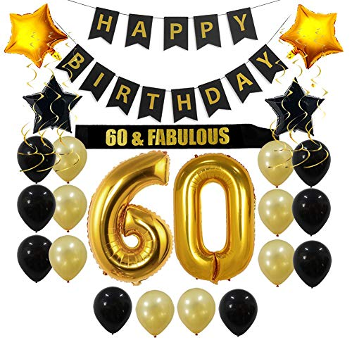 60th Birthday Decorations Party Supplies Gift for Men/Women - 60 Birthday Sash, Happy Birthday Banner, 60 Gold Number Balloons, Sparkling Hanging Swirls, Black and Gold Balloons