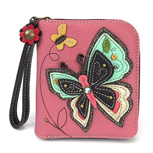 CHALA Zip Around Wallet, Wristlet, 8 Credit Card Slots, Sturdy Pu Leather, New Butterfly - - Zip Top Handbag Butterfly