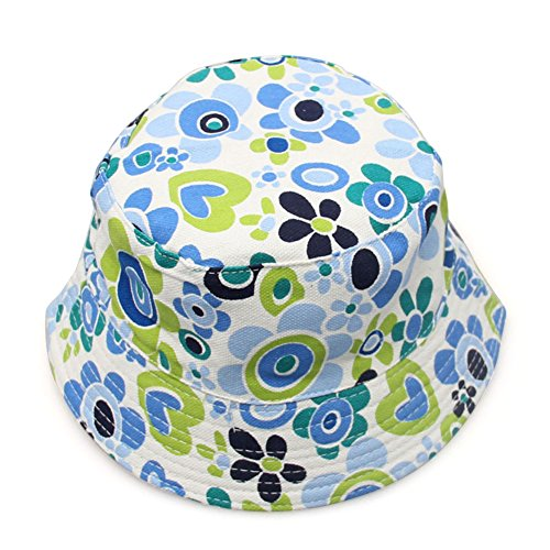 Opromo Kids Cotton Twill Canvas Bucket Hat - Sun Protective Bucket Hat-Flower Blue-48 PCS by Opromo