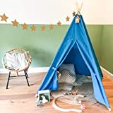 [LARGE CHILDREN'S TIPI PLAY TENT] Indoor-Outdoor Use WigWam Wendyhouse - Natural Cotton Canvas and Wood - 140x120x120 cm - Lockable Playhouse with Windows - GadgetQounts(Blue)