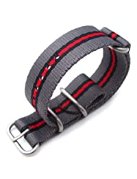 MiLTAT 22mm 3 Rings Zulu JB Watch Band, Thick Nylon, Grey, Black & Red, Brushed