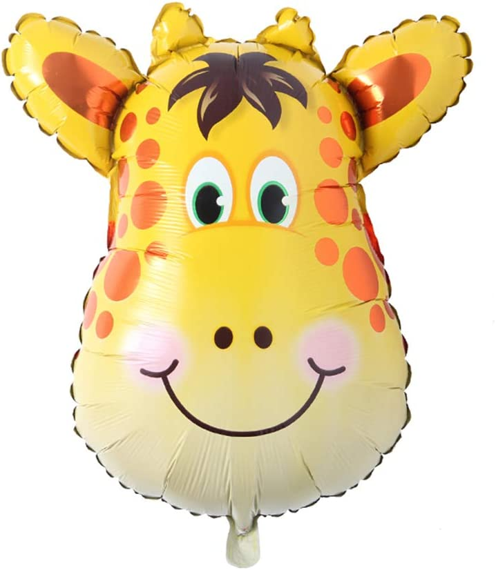 Huge Animal Head Safari Foil Balloon Inflatable Air Ballon Happy Birthday Christmas Party Decorations Kids Baby Shower Party Supplies (Huge Giraffe Head)