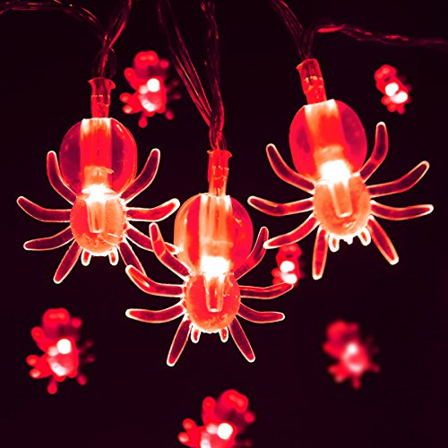 Red Spider Halloween String Lights,7.5ft 20 LED Battery Operated Holiday Decorations Lights for Indoor Christmas Party Garland Decor