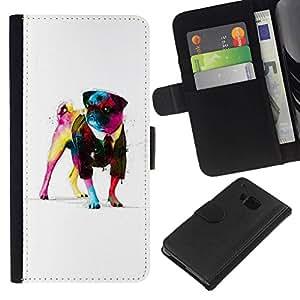 // PHONE CASE GIFT // Moda Estuche Funda de Cuero Billetera Tarjeta de crédito dinero bolsa Cubierta de proteccion Caso HTC One M9 / Awsome Gentleman Pug /