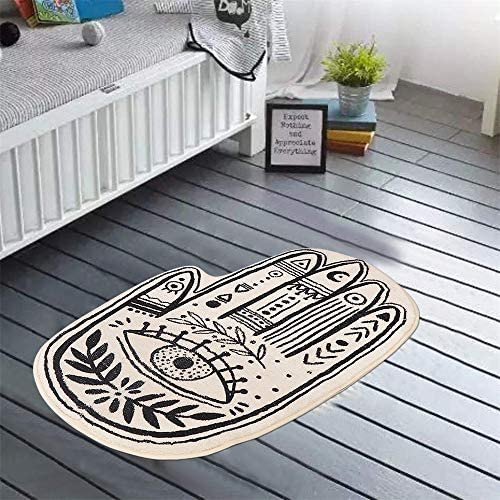 Livebox Kids Bath Rug Bohemian Palmistry Area Rug 2x3 Bathroom Mat Non Slip Personalized Carpet Black And White Children Rugs Soft Plushthrow Rug For Shower Doormats Tub Decoration Rugs Carpets