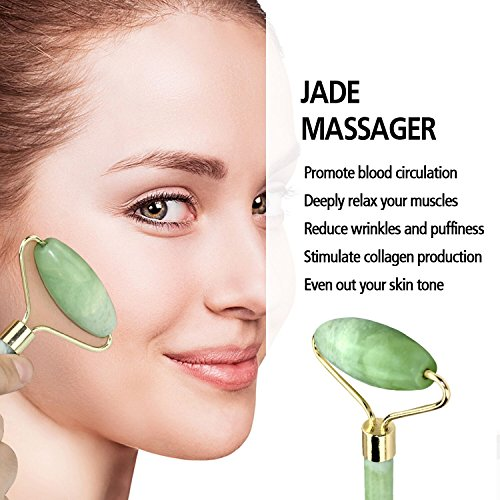 Beauty Jade Roller Cubbe Facial Roller Real Premium Handmade 100% Natural Jade Stone Massager Anti Aging Facial Therapy Anti Wrinkle And Skin Rejuvenate by Cubbe (Image #2)