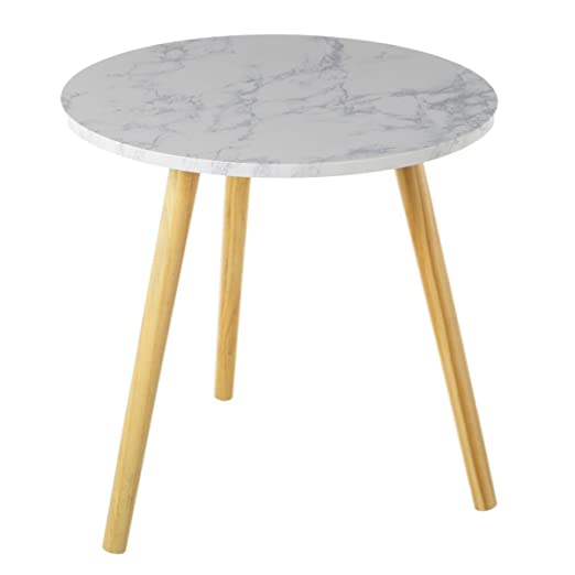 Dcasa - Mesa auxiliar nórdica blanca de madera para salón Fantasy ...