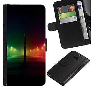 [Neutron-Star] Modelo colorido cuero de la carpeta del tirón del caso cubierta piel Holster Funda protecció Para HTC One M8 [Rainbow Night City Negro]
