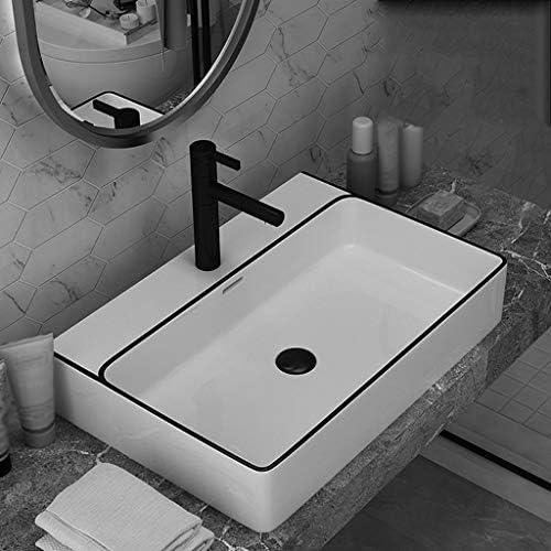 Minmin 洗面台バルコニー洗濯プール浴室の長方形の流域500x420x130mmの洗面化粧台の家の装飾小さなアパートのセラミックシンプル 芸術流域 (Color : A)