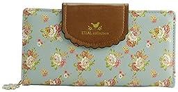ETIAL Women\'s Vintage Floral Zip Wallet Faux Leather Card Holder (Light blue)