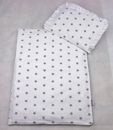 Rawstyle 4 tlg. Set Bezug für Kinderwagen Garnitur Bettwäsche Decke + Kissen + Füllung (Weiß kleine Sterne grau)