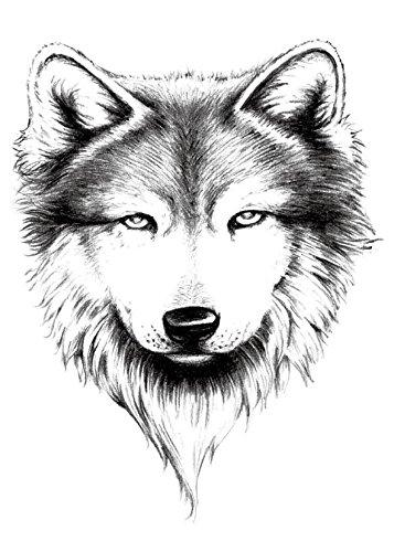 Amazon Com Yeeech Temporary Tattoo Paper Large Animal Wolf Head For Men Black Beauty