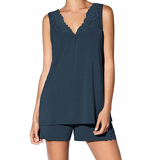 JANIRA pijama de mujer sin mangas con puntilla Jolie - INDIGO, M