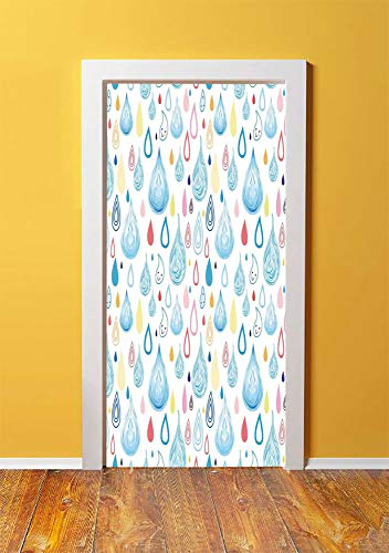 - SHENGLIPINK Home Decor 3D Door Sticker Wall Decals Mural Wallpaper,Various Large and Small Heavy Rain Drops Fluid Squall Graphic Art Print,DIY Art Home Decor Poster Decoration 30.3x78.5690,Multi