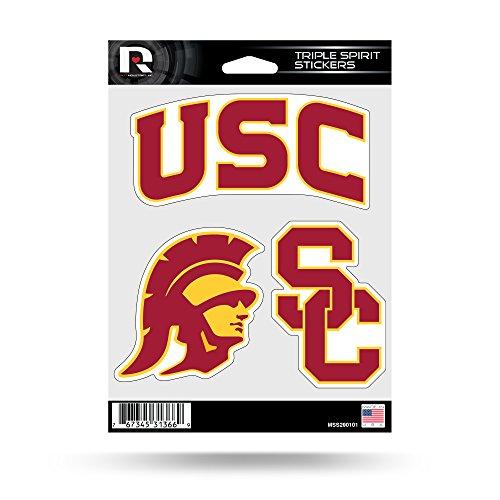 Rico Industries NCAA Southern California Trojans Die Cut 3-Piece Triple Spirit Sticker Sheet