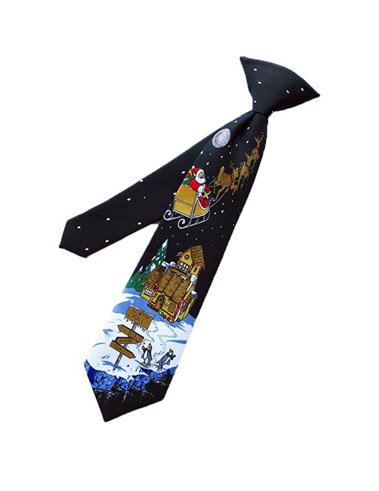 Parquet Mens Boys Christmas Holiday Necktie - Black - Clip on Neck Tie