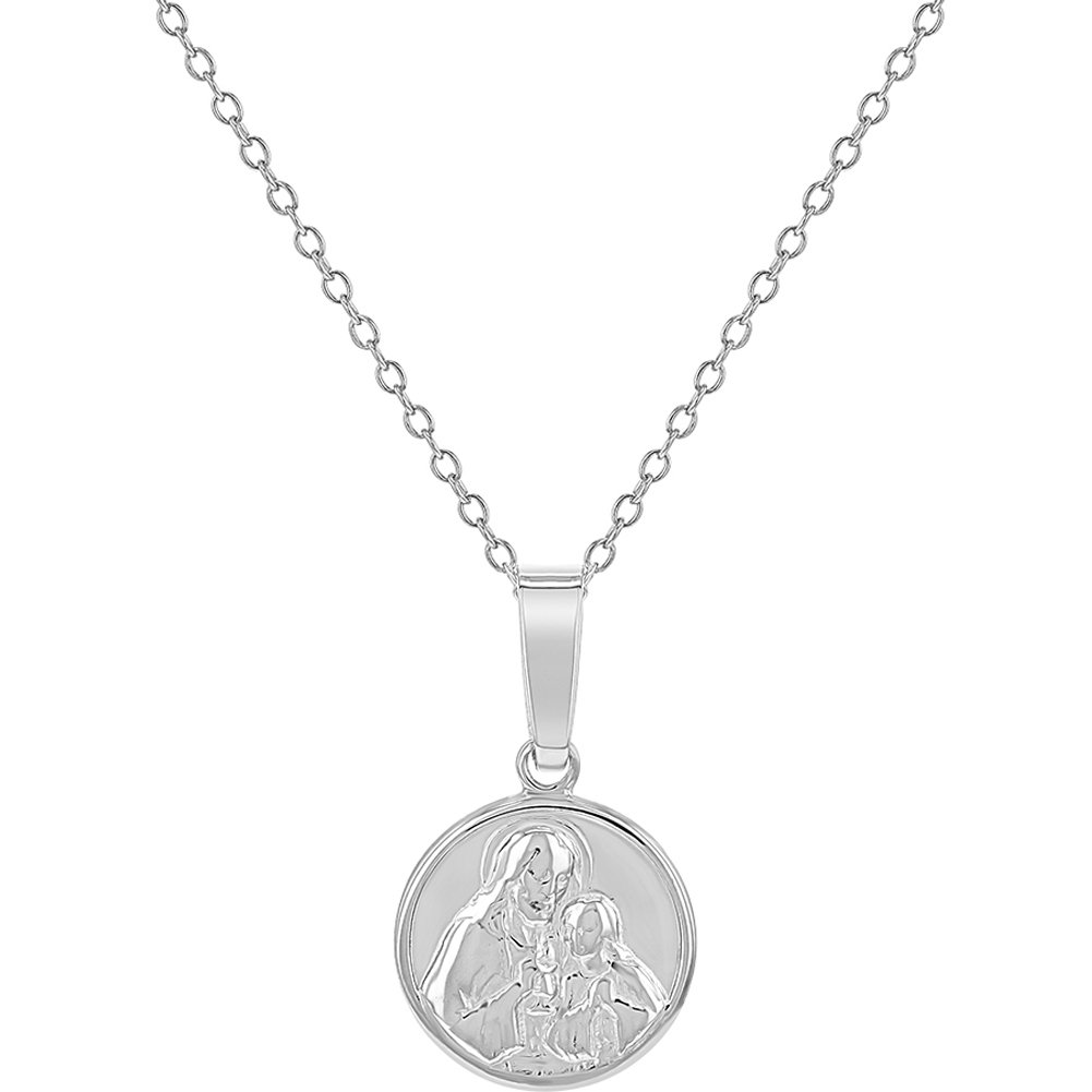 925 Sterling Silver Jesus Christ Virgin Mary Medal Pendant Girls Necklace 16' In Season Jewelry SS-12-00006