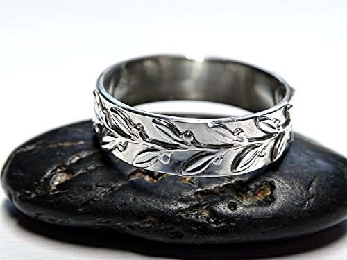 laurel ring silver engagement ring, nature inspired promise ring leaf, twig silver ring, wreath eternity ring silver, leaf ring silver wedding band, filigree ring - Eternity Wreath