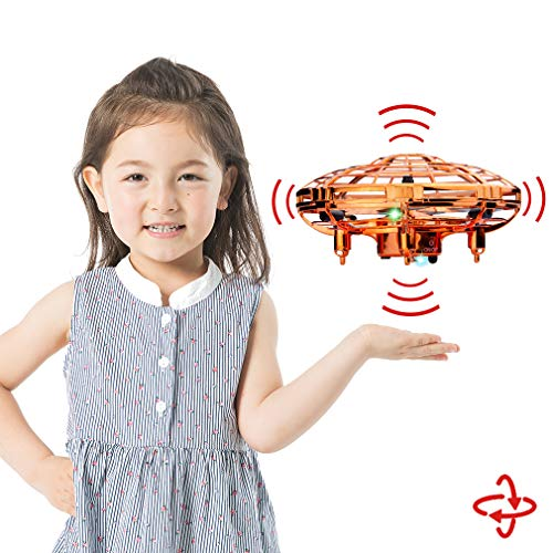 (WEW Flying Toy, Easy Indoor Mini Drone Helicopter, 720°Infrared Induction 360° Rotating Hand Controlled Drone for Kids Adults Teenager Home Office- Gold)