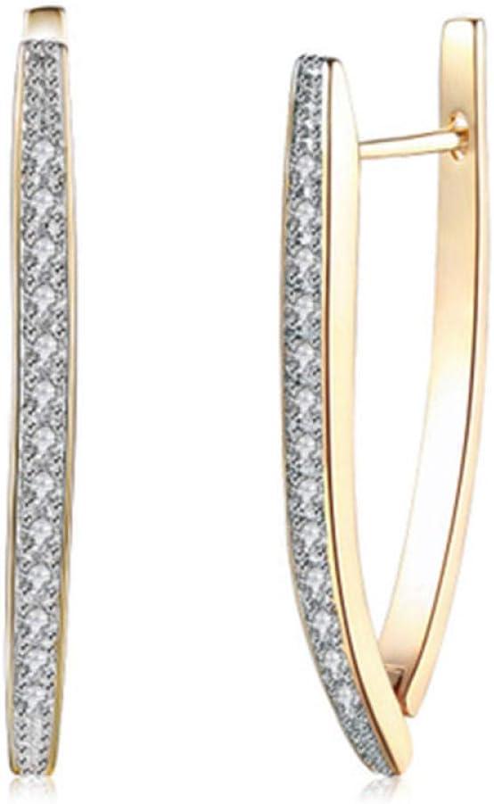 Erin Earring Pendientes De Aro De Diamantes De Imitación En Forma De V De Moda para Mujer Charm Champagne Oro Plata Color Joyería Pendientes De Anillo Triangular Z4E800