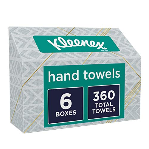 Disposable Wipes Paper Dry - Kleenex Hand Towels, Disposable Hand Paper Towels, 60 Towels per Box, 6 Pack (360 Count Total)