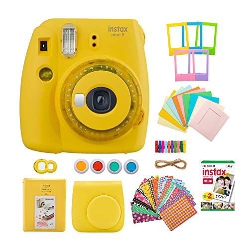 Fujifilm INSTAX Mini 9 Instant Camera with Clear Accents (Yellow) with Instant Film Twin Pack and 7-1 Accessory Gift Bundle (3 Items)