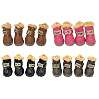 WINSOON Dog Australia Boots Pet Antiskid Shoes Winter Warm Skidproof Sneakers Paw Protectors 4-pcs Set