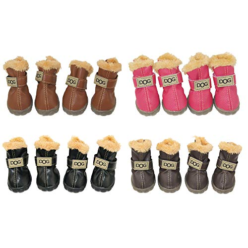 WINSOON Dog Australia Boots Pet Antiskid Shoes Winter Warm Skidproof Sneakers Paw Protectors 4-pcs Set (Size 1, Dark Brown) ()