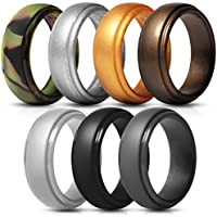 Saco Band Silicone Rings Men - | 7 Pack | 1 Pack | Rubber Wedding Bands