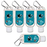 NHL San Jose Sharks Hand Sanitizer with Clip, 5-Pack. Moisturizers Aloe Vera and Vitamin E. (1.5 oz Containers) NHL Gifts for Men and Women, Christmas Stocking Stuffers