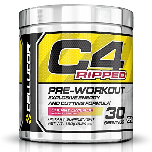 Cellucor C4 Ripped Preworkout Thermogenic Fat Burner Powder, Preworkout Energy, Weight Loss, 180 g (6.34 oz) , 30 Servings, Cherry Limeade 776115155576